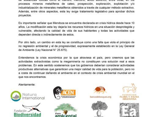 La Fundación Biodiversidad rechaza junto a otras organizaciones ambientales la modificación de la ley 7722 de la provincia de Mendoza.